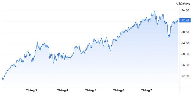 Diễn biến giá dầu thô WTI từ đầu năm tới nay