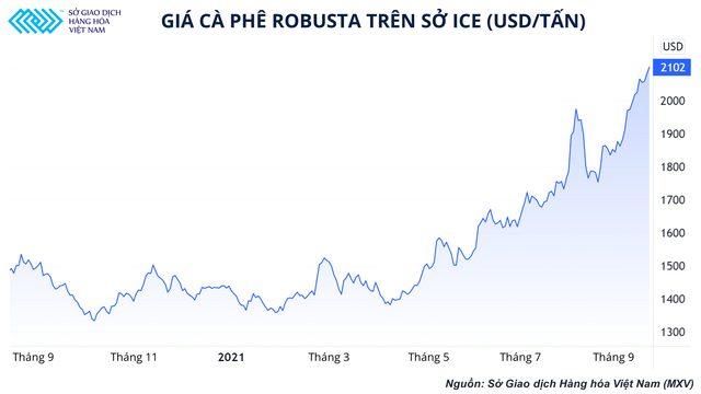 Giá cà phê Robusta trên sở ICE
