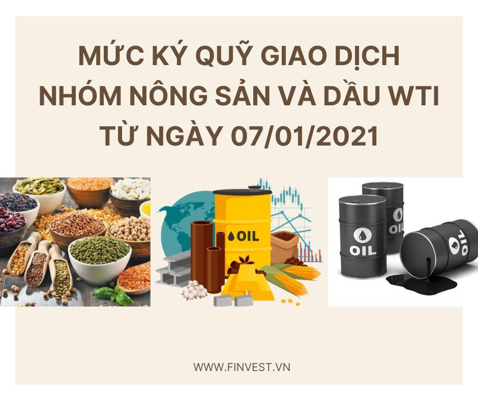 Mức ký quỹ giao dịch nông sản và dầu thô WTI