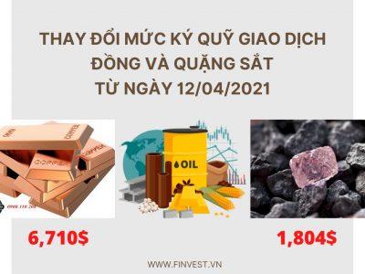 Mức ký quỹ giao dịch đồng và quặng sắt